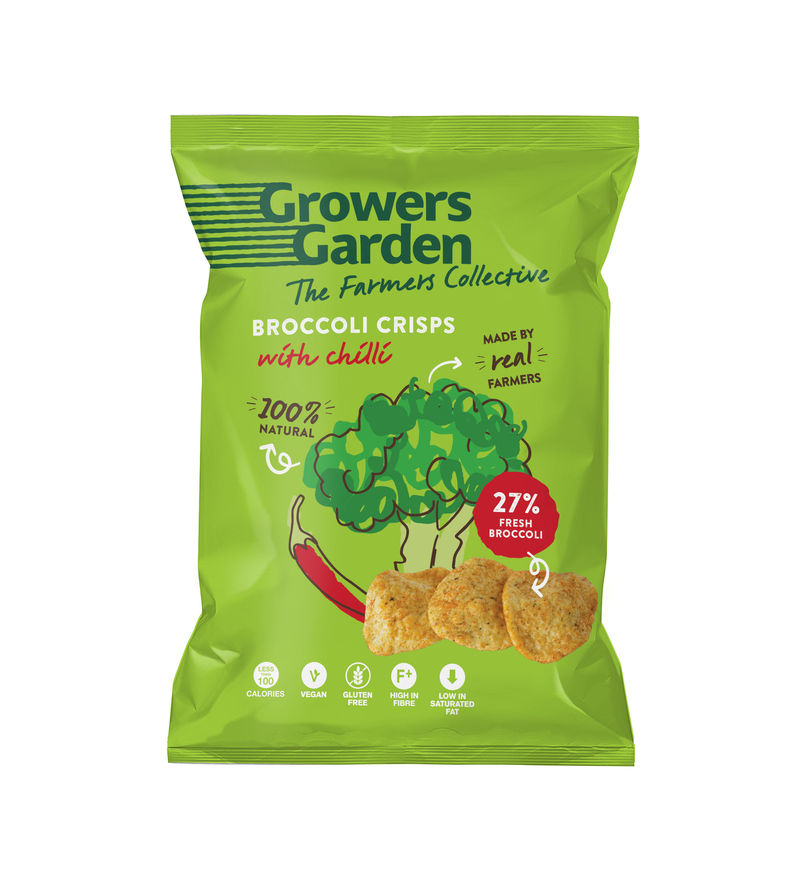A packet of growers garden 22g chili flavoured brocoli crisps