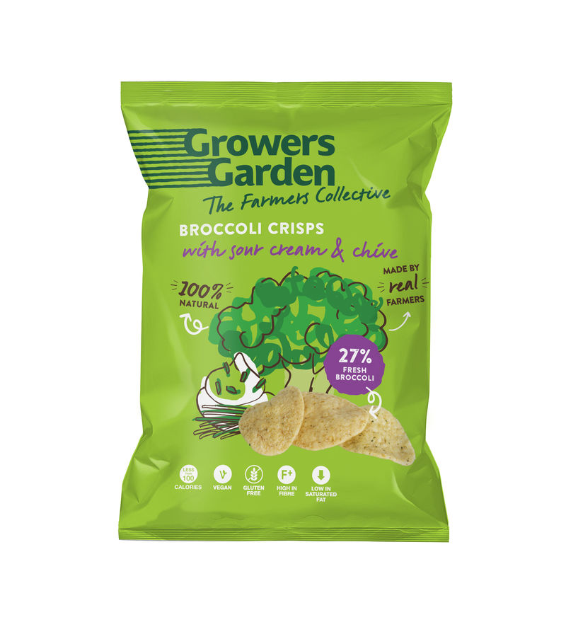 A packet of sour cream & chive brocoli flavoured growers garden crisps