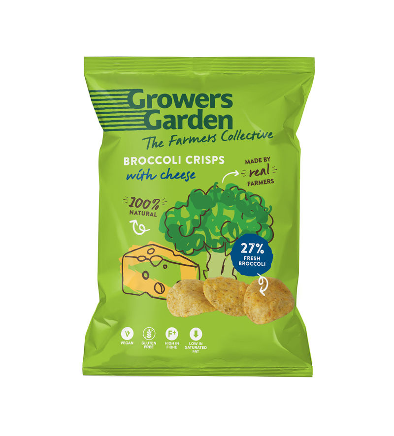 A packet of cheese flavoured growers garden brocoli crisps